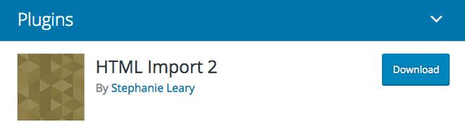 HTML Import 2 WordPress plugin