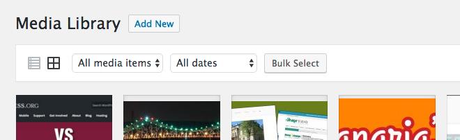 Media library in WordPress dashboard