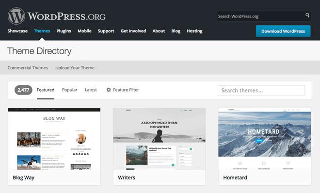 Directory of free WordPress themes